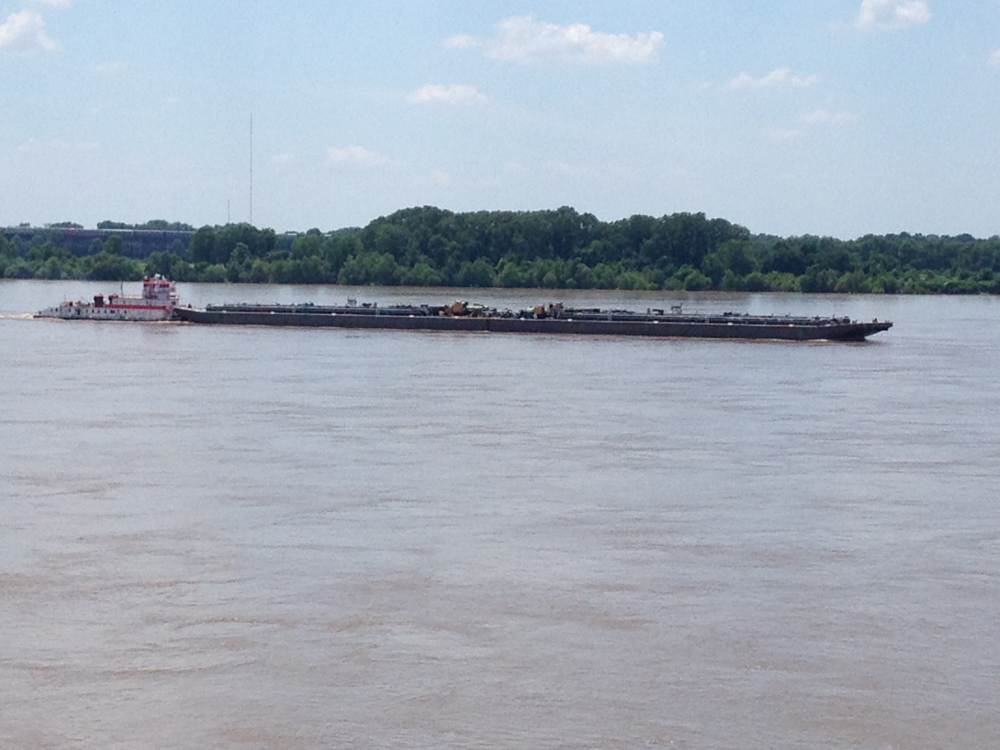 A Barge on the Mississippi River heading north