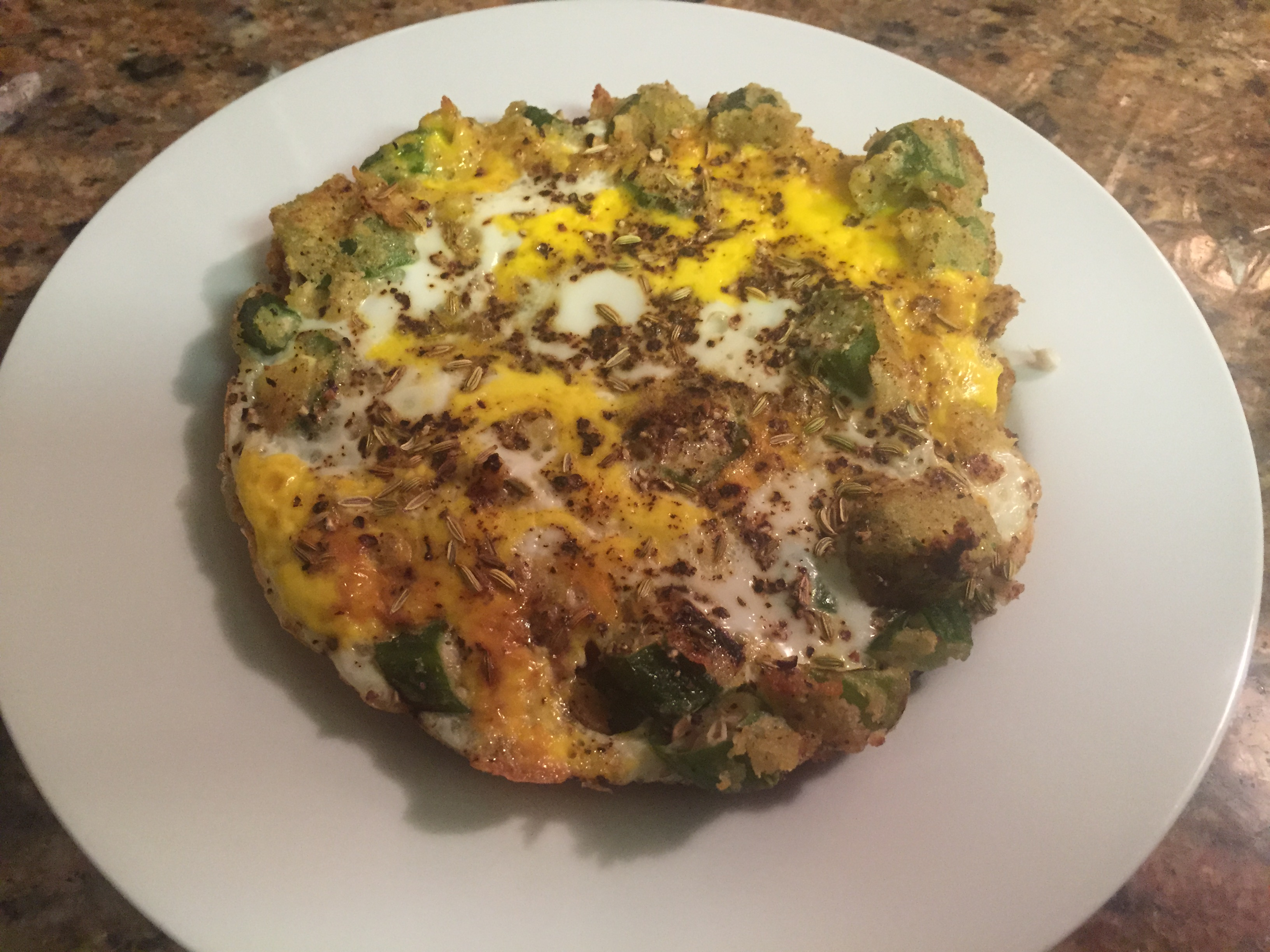 Egg and Okra Omelet with Black Pepper and Fennel