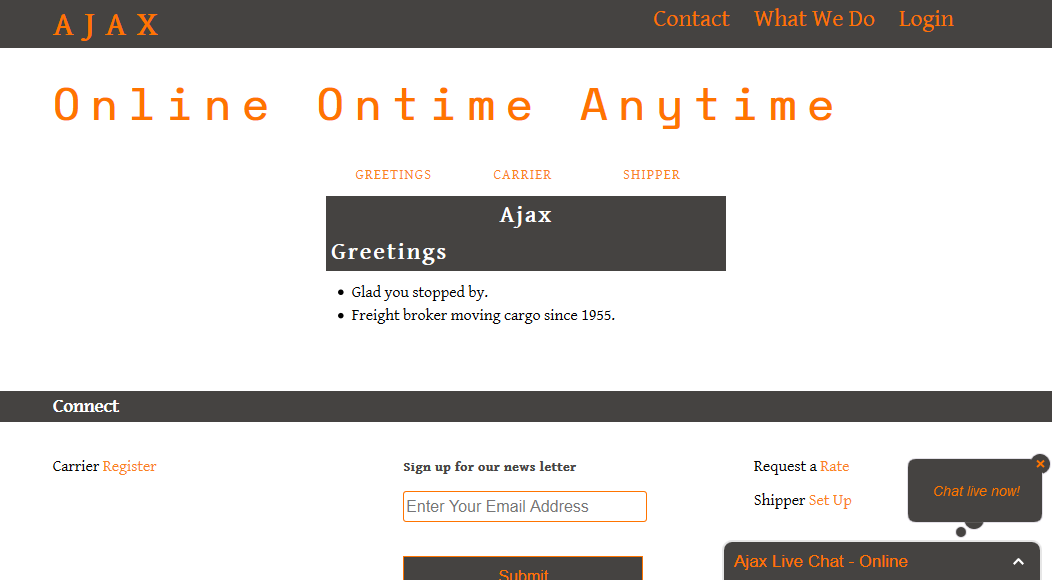 Ajax Transport Home Page