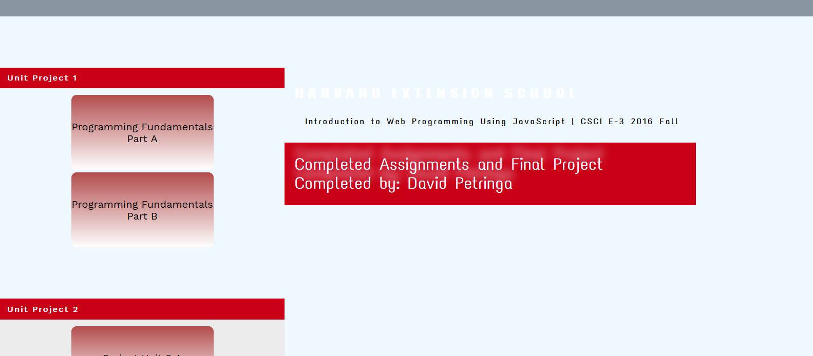 Home Page For Introduction to Web Programming at Harvard Extension School
