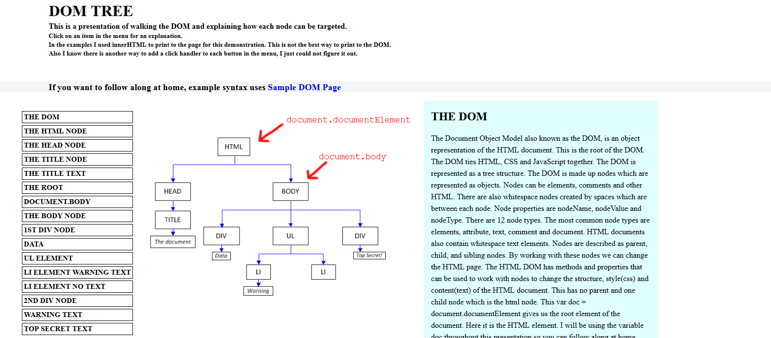 The Dom Document Object Model