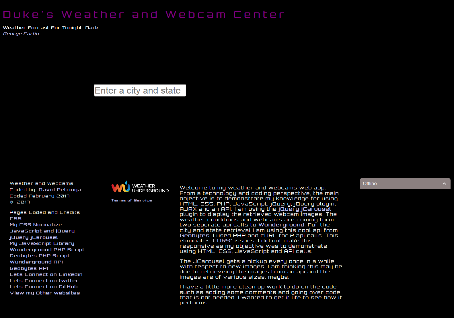 Current Weather and Webcams